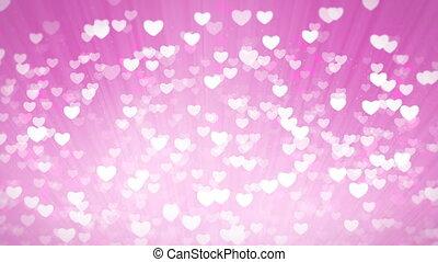 rose, lumière, valentines, arrière-plan., cœurs, brillant, jour