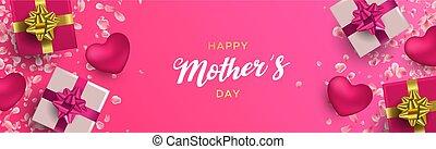 rose, mères, dons, cœurs, bannière, jour, heureux