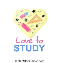 rose, mémoire, école, amour, règle, couleur, pencil.,...
