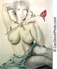 rose, m�dchen, hand