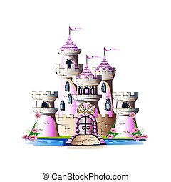 rose, magie, château
