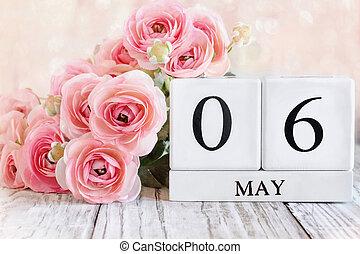 rose, mai, 6ème, blocs, ranunculus, calendrier