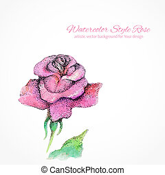 rose., main, aquarelle, vecteur, fond, dessiné