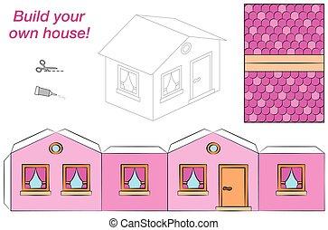 rose, maison, modèle, papier, gabarit