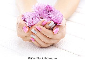 rose, manucure, à, chrysanthème, flowers., spa