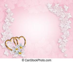 rose, mariage, fond, invitation
