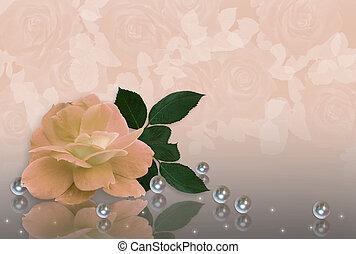 rose, mariage, perles, pêche, invitation