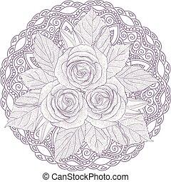 rose, mazzolino, tre, isolato, fondo., bianco, mandala