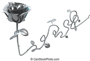 Rose Metal Long Stem - Metal rose long stem decoration...