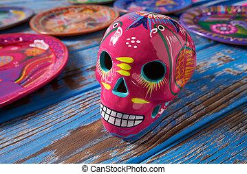 rose, mexicain, crâne, dia, métier, muertos