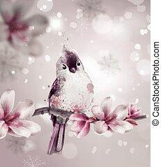 rose, mignon, branche, magnolia, arrière-plans, aquarelle, beau, vector., fleurs, oiseau