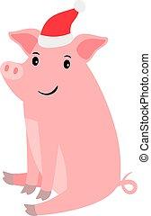 rose, mignon, chapeau, santa, cochon