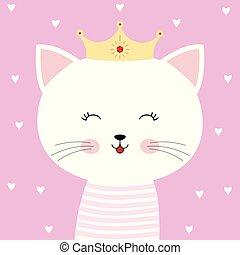 rose, mignon, chaton, isolé, dessin animé, arrière-plan., princesse