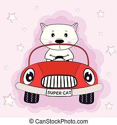 rose, mignon, conduite, voiture, chat, arrière-plan.