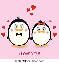 rose, mignon, couple, arrière-plan., pingouins, agréable