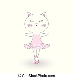 rose, mignon, danse, chat, arrière-plan., robe blanche