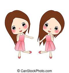 rose, mignon, dress., danser., rose, isolé, arrière-plan., fille femme, blanc, heureux