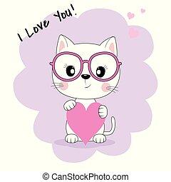 rose, mignon, fantasme, isolé, chat, arrière-plan., lunettes