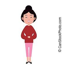 rose, mignon, femme, adulte, chignon cheveux, asiatique, pantalon