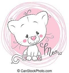 rose, mignon, fond blanc, chaton