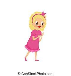 rose, mignon, gosses, blond, girl, robe, concept, illustration, vecteur, fond, fête, blanc, dessin animé