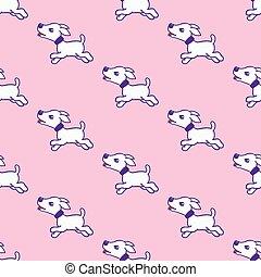 rose, mignon, illustration., modèle, chien, isolé, arrière-plan., vecteur, seamless, autocollants