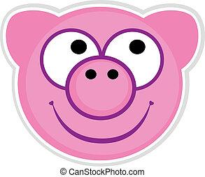 rose, mignon, isolé, cochon, blanc, écusson, dessin animé