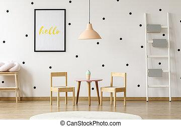 rose, mignon, jouez ensemble, salle gosses, pastel, bois, point, échelle, papier peint, polka, dîner, livres, noir, pendentif, au-dessus, intérieur, blanc, préscolaire