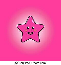 rose, mignon, mascotte, caractère, étoile