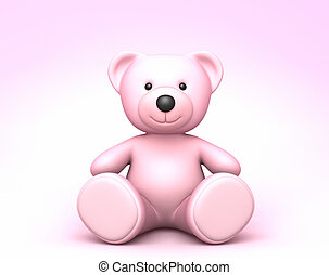 rose, mignon, ours, teddy