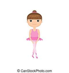 rose, mignon, peu, ballet, fond, girl, robe, blanc