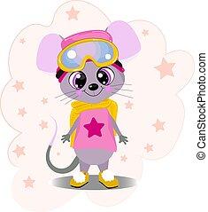 rose, mignon, peu, hiver, souris, color., t-shirt, arrière-plan., printing., chapeau blanc