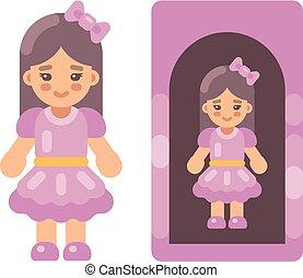 rose, mignon, peu, plat, poupée, boîte, illustration, icon., robe, girl
