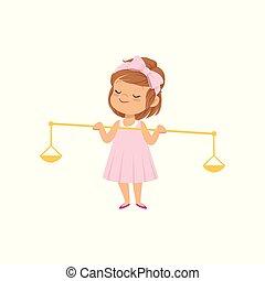 rose, mignon, peu, tenue, doré, justice, balances, illustration, vecteur, fond, girl, robe, blanc