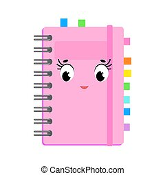 rose, mignon, plat, simple, character., isolé, illustration, dessin animé, arrière-plan., vecteur, blanc, agréable, livre, cover.