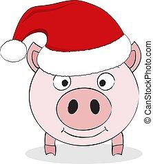 rose, mignon, santa, chinois, rigolote, symbole, hat., isolé, cochon, arrière-plan., porcin, vector., année, nouveau, blanc, 2019.