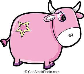 rose, mignon, vache, vecteur, bétail, girl