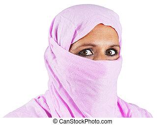 rose, milieu, femme, vieilli, musulman