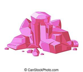 rose, mobile, apps, vecteur, jeux, fond, cristaux, blanc