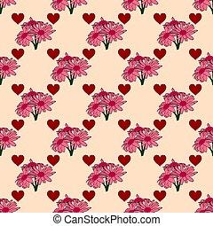 rose, modèle, seamless, hearts., bouquets, fleurs