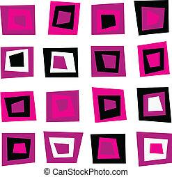 rose, modèle, seamless, retro, fond, carrés, ou