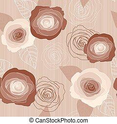rose, modèle, seamless, roses, vecteur, fond