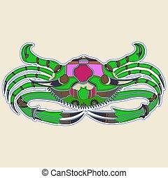 rose, monstre vert, crabe, dos