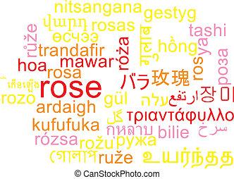 Rose multilanguage wordcloud background concept