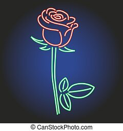 Rose neon glowing on dark background of vector illustration