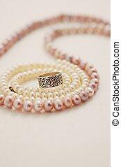 rose, noce blanche, perls, anneau, argent