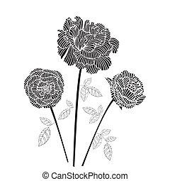 rose, noir, illustration