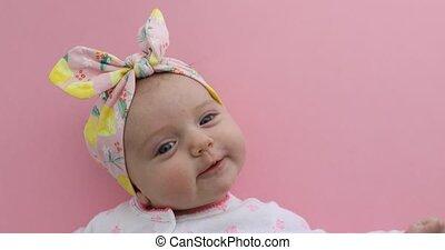 rose, nouveau né, fond, dorlotez fille, sourire