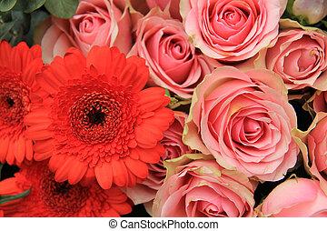 rose, nuptial, fleurs, arrangement