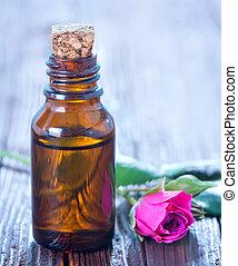 rose oil in bottle